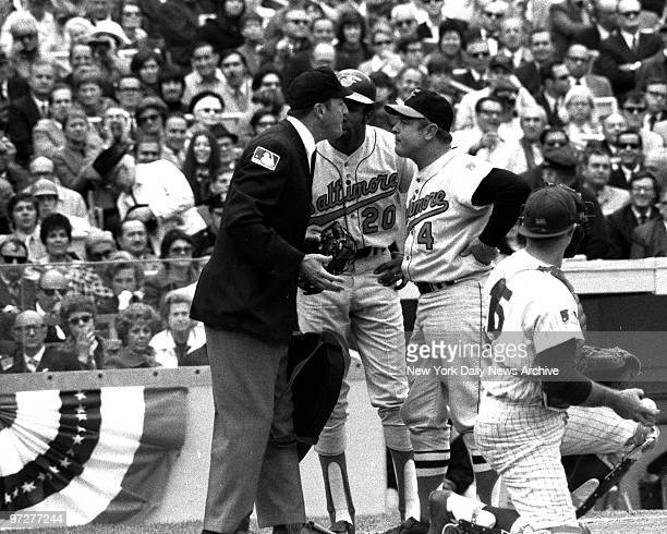 Y Mets vs Baltimore Orioles 1969 World Series Game 4 Umpire Shag Crawford points to dugout after ejecting Orioles manager Earl Weaver in third inning...