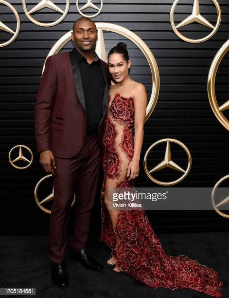 Metta World Peace and Maya Ford attend the MercedesBenz Academy Awards Viewing Party at The Four Seasons Hotel Los Angeles at Beverly Hills on...