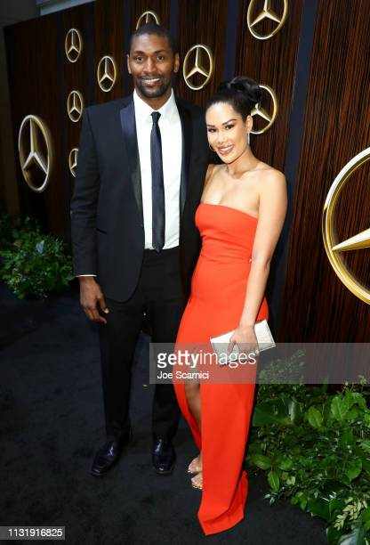 Metta World Peace and Maya Ford attend the MercedesBenz USA Awards Viewing Party at Four Seasons Los Angeles at Beverly Hills on February 24 2019 in...