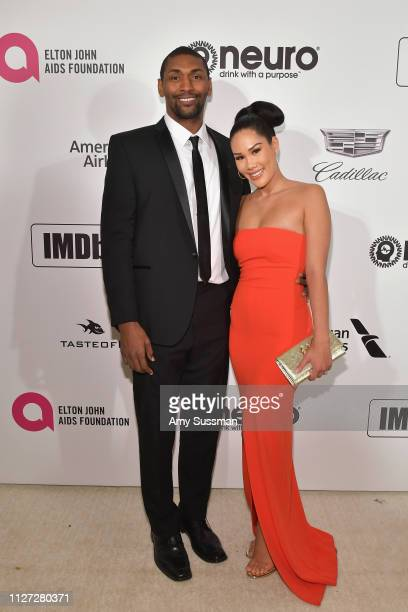 Metta World Peace and Shin Shin attend the 27th annual Elton John AIDS Foundation Academy Awards Viewing Party celebrating EJAF and the 91st Academy...