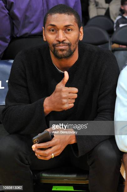 Metta World Peace attends a basketball game between the Los Angeles Lakers and the Cleveland Cavaliers at Staples Center on January 13, 2019 in Los...
