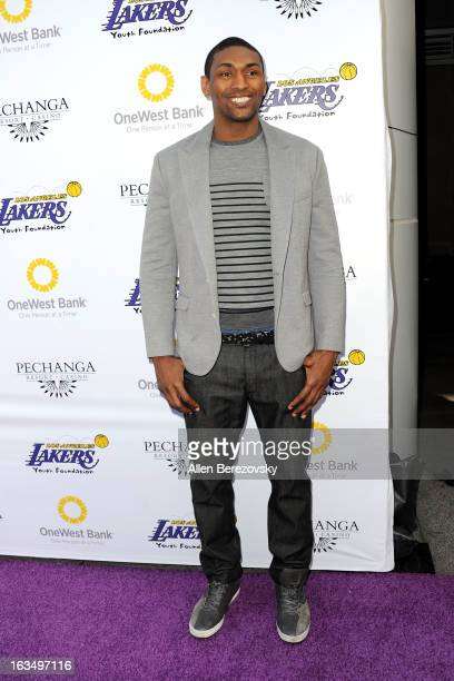 Metta World Peace attends the Lakers Casino Night fundraiser benefiting the Lakers Youth Foundation at Club Nokia on March 10 2013 in Los Angeles...