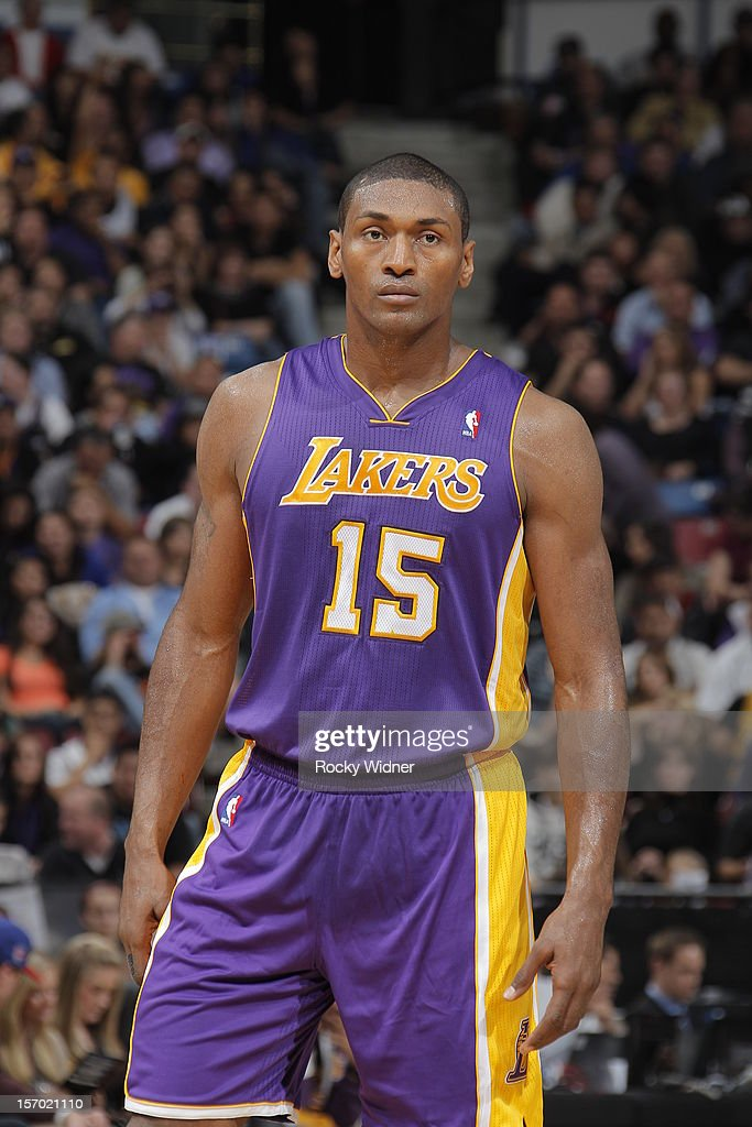Metta World Peace #15 of the Los Angeles Lakers in a game against the Sacramento Kings on November 21, 2012 at Sleep Train Arena in Sacramento, California.