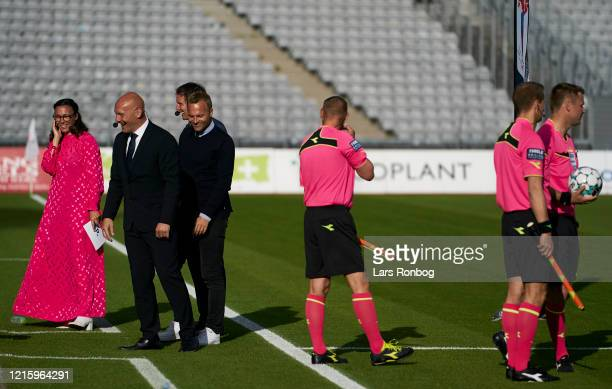 Mette Cornelius, journalist of Eurosport Discovery, Thomas Gravesen and Lars Jacobsen prior to the Danish 3F Superliga match between AGF Aarhus and...