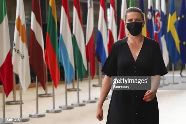 Mette Frederiksen, Denmark's prime minister, arrives at a European Leaders summit in Brussels, Belgium, on Friday, June 25, 2021. EU leaders...
