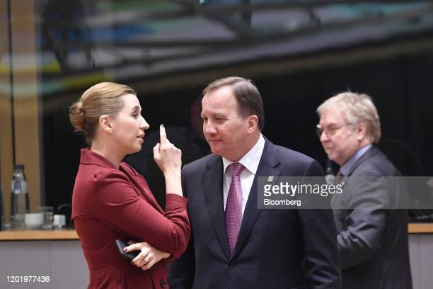 Mette Frederiksen Denmark's prime minister left speaks with Stefan Lofven Sweden's prime minister ahead of roundtable talks at a European Union...