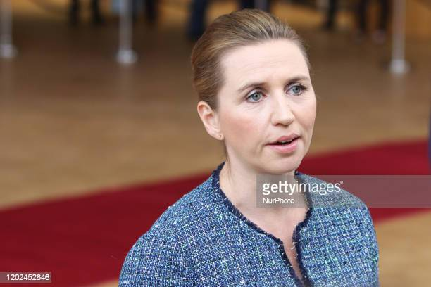 Mette Frederiksen Prime Minister of Denmark as seen at forum Europa building having a doorstep press and media briefing during the second day of a...