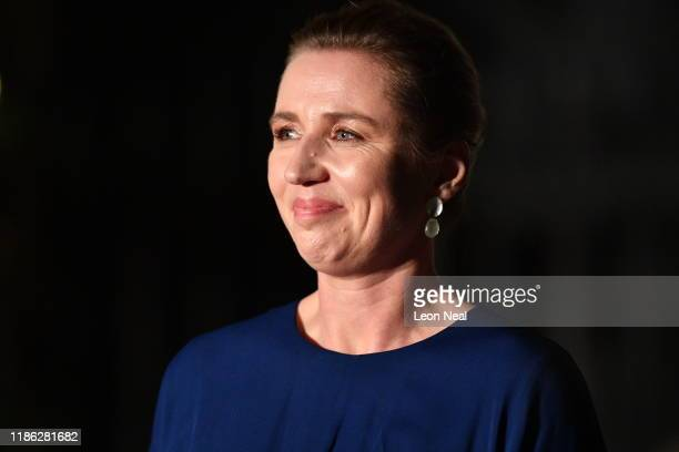 Mette Frederiksen Prime Minister of Denmark leaves number 10 Downing Street after a reception on December 3 2019 in London England France and the UK...