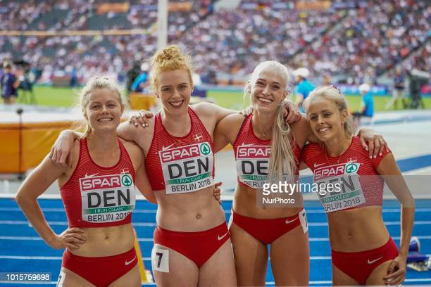 Mette Graversgaard of  Denmark Ida Kathrine Karstoft of  Denmark Mathilde Kramer of  Denmark and Louise Østergård of  Denmark during 4 times 100...