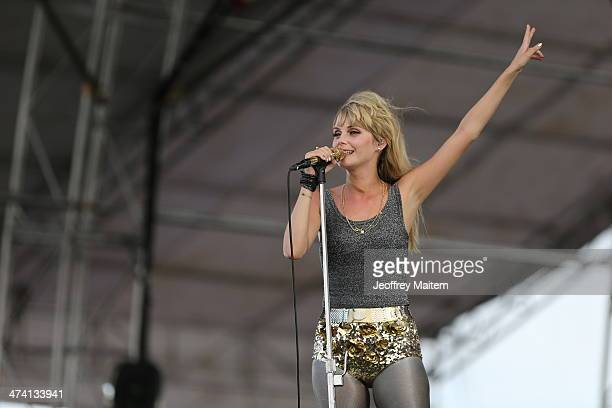 Mette Lindberg lead singer for psychedelic pop group The Asteroids Galaxy Tour performs at the 7107 International Music Festival on February 22 2014...