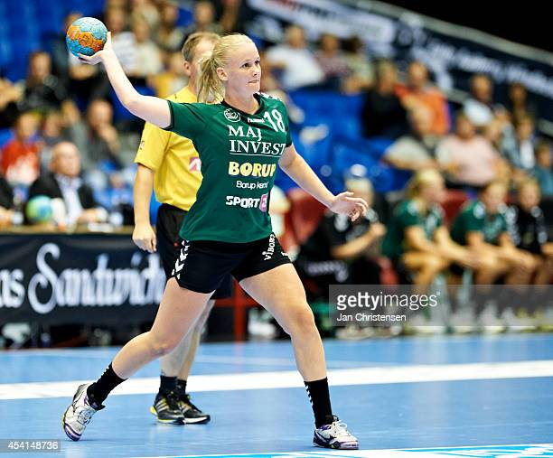 Mette Thyrsted of Viborg HK throws the ball during the Super Cup Final between Viborg HK and FC Midtjylland in Gigantium on August 22 2014 in Aalborg...