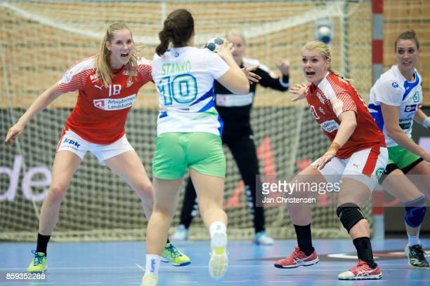 Mette Tranborg of Denmark and Kathrine Heindahl of Denmark defending during the EHF EURO 2018 qualification match between Denmark and Slovenia in...