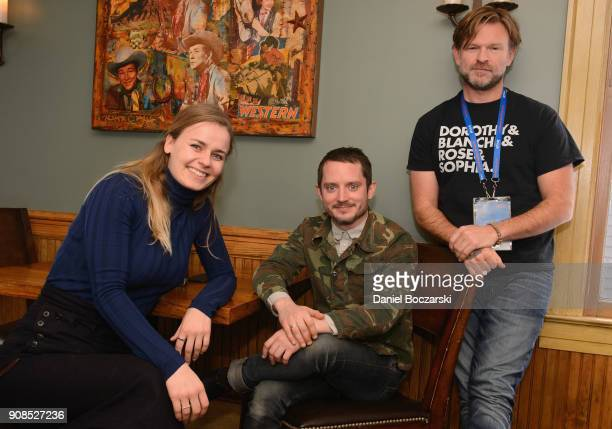 MetteMarie Kongsved Elijah Wood and Josh Waller attend Brunch with the Brits during the 2018 Sundance Film Festival on January 21 2018 in Park City...