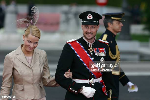 MetteMarit and Haakon of Norway arrive at the Almudena Cathedral for the wedding ceremony of Spanish Crown Prince Felipe and his newlywed Princess...