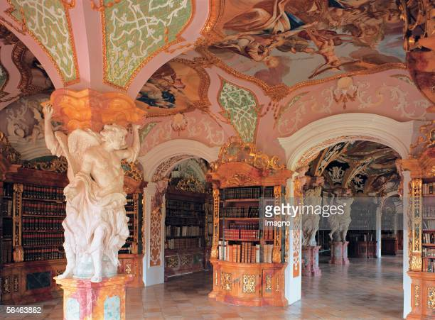 Metten, Lower Bavaria: Benedictine Monastery. Monastery library. Photography by Gerhard Trumler. [Metten, Niederbayern: Benediktiner-Kloster....