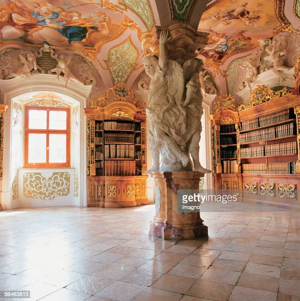 Metten, Lower Bavaria: Benedictine monastery. Monastery library. Metten on the Danube, founded 766 and populated with monks from Reichenau. 1058...