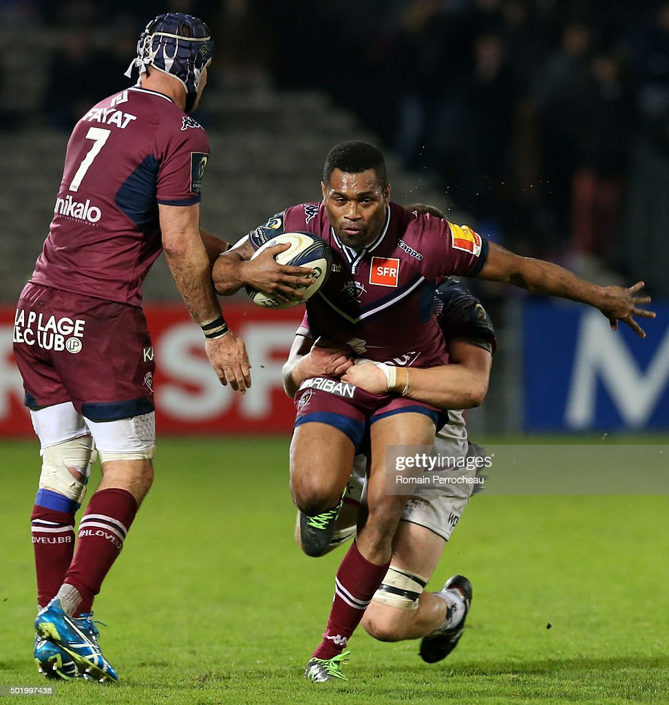 Metuisela Talebula for Union Bordeaux Begles in action during the European Rugby Champions Cup match between Union Bordeaux Begles and Ospreys at Stade Chaban-Delmas on December 19, 2015 in Bordeaux, France.