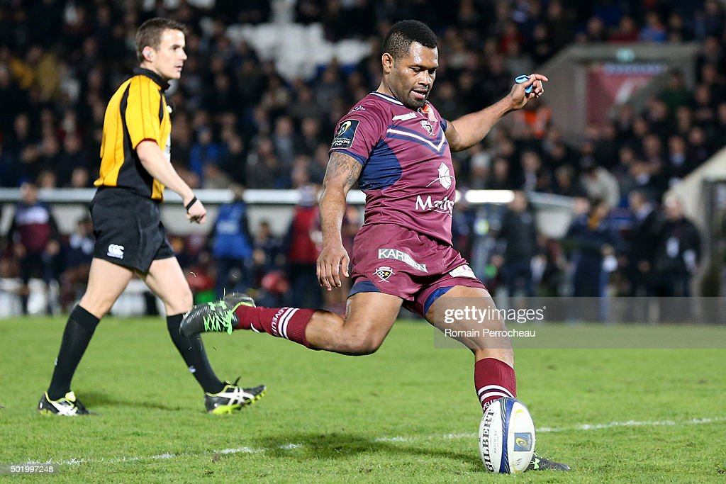 Metuisela Talebula for Union Bordeaux Begles takes a penalty kick during the European Rugby Champions Cup match between Union Bordeaux Begles and Ospreys at Stade Chaban-Delmas on December 19, 2015 in Bordeaux, France.