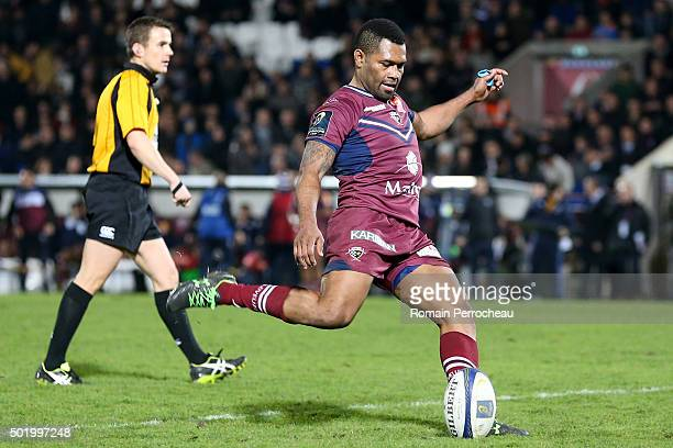 Metuisela Talebula for Union Bordeaux Begles takes a penalty kick during the European Rugby Champions Cup match between Union Bordeaux Begles and...