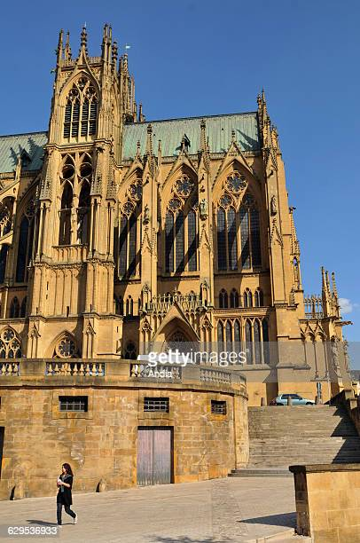 Metz Cathedral Or StStephens Flamboyant Gothic Style Religious Building