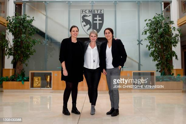 Metz' communications director Julie Decker, FC Metz' executive director Helene Schrub and FC Metz' technical director of the women's section Jessica...