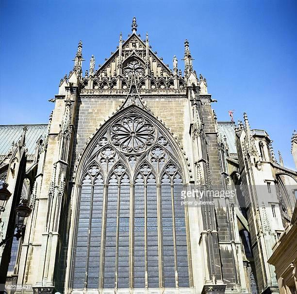 CONTENT] Metz France SaintÉtienne de Metz Saint Steven's cathedral exterior transept facade stainedglass window gothic architecture