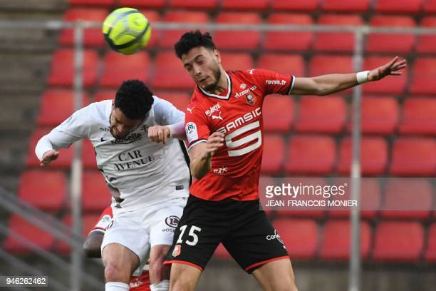 Metz' French forward Emmanuel Riviere vies with Rennes' Algerian defender Rami Bensebaini during the French L1 Football match between Rennes and Metz...