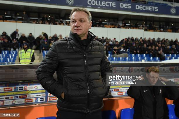 Metz' French head coach Frederic Hantz looks on during the French L1 football match between Montpellier and Metz on December 16 2017 at the La Mosson...