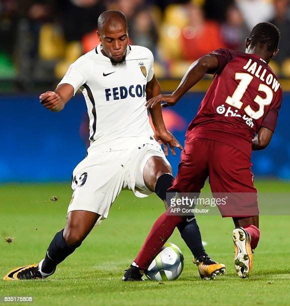 Metz' Gambian midfielder Ablie Jallow vies with Monaco's French defender Djibril Sidibe during the French Ligue 1 football match between Metz and...