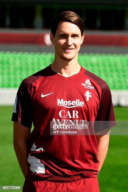 FC Metz' German defender Philipp Wollscheid poses for the French L1 20172018 football season official portrait on September 21 2017 at...
