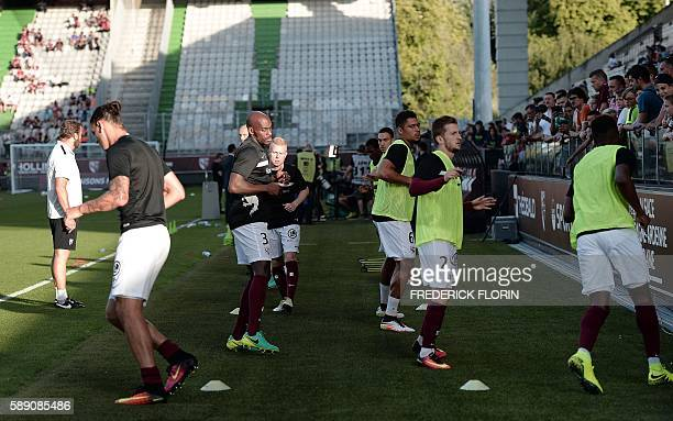 Metz' players take part in a training session before the French Ligue 1 football match between FC Metz and Lille on August 13 2016 at the...