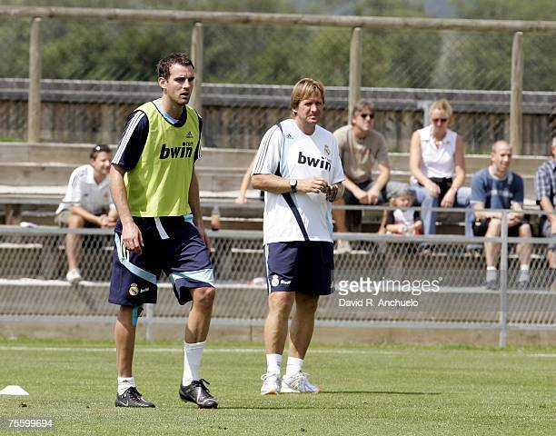 Metzelder and Bernd Schuster stand together during a training session on July 23 2007 in Irdning Austria