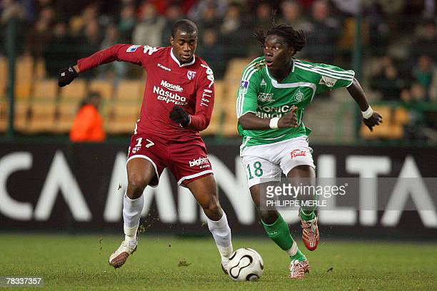 Metz's French defender Sebastien Bassong vies with SaintEtienne French forward Bafetimbi Gomis during the French L1 football match SaintEtienne vs...