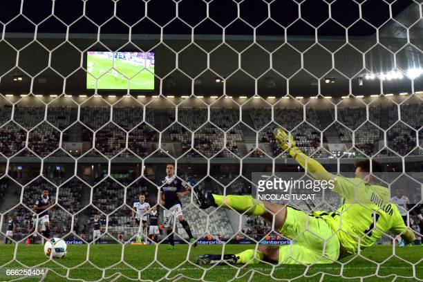 Metz's French goalkeeper Thomas Didillon takes a goal during the French Ligue 1 football match between Bordeaux and Metz on April 8 2017 at the...
