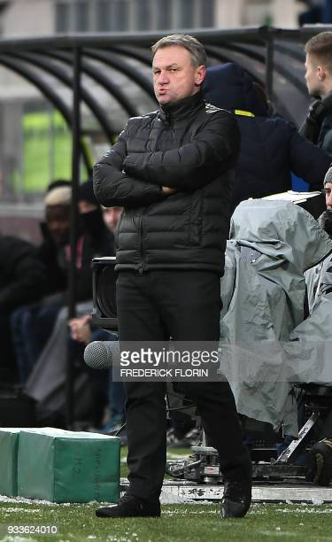 Metz's French head coach Frederic Hantz looks on during the French L1 football match between Metz and Nantes on March 18 at the SaintSymphorien...