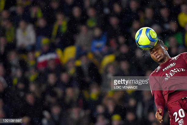 Metz's Senegalese forward Habib Diallo heads the ball during the French L1 football match between FC Nantes and FC Metz at the La Beaujoire Stadium...