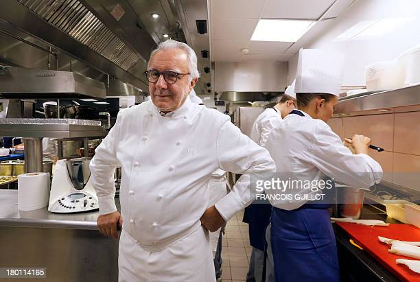 Meurice restaurant's new French chief Alain Ducasse poses in the kitchen of the Parisian palace on September 4 in Paris Monacan citizen Ducasse...