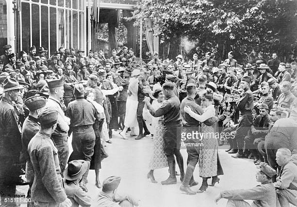 World War I Armistice 353rd Infantry 89th division at Meuse France dancing after hearing the news