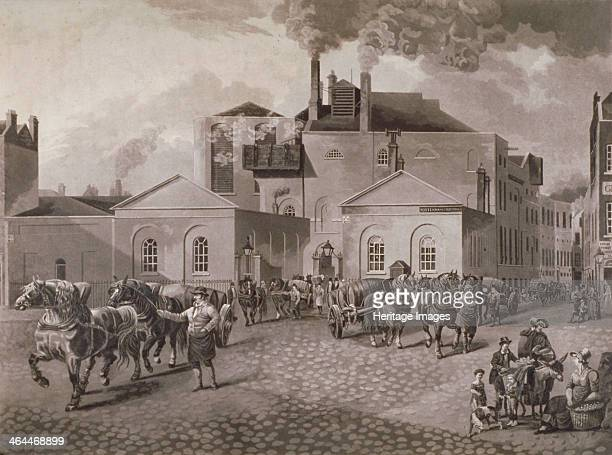 Meux's Brewery Tottenham Court Road London c1830 View with a street scene including carts carrying barrels and a family possibly purchasing wares...