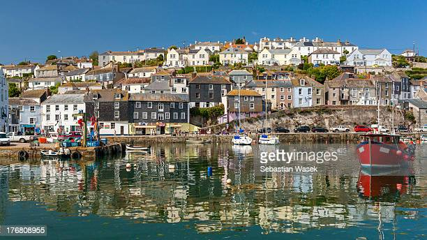 mevagissey harbor. - mevagissey stock photos and pictures