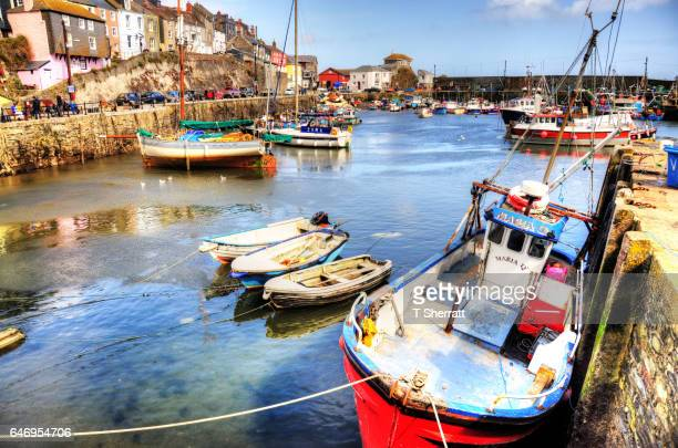 mevagissey harbour - mevagissey stock photos and pictures