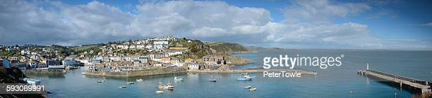 mevagissey panorama - mevagissey stock photos and pictures