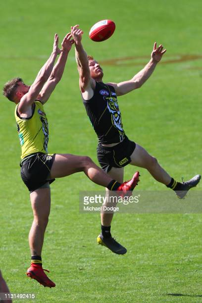 Meverick Weller of the Tigers competes for the ball against Nick Vlastuin of the Tigers during the Richmond 2019 Jumper Presentation and AFL Practice...