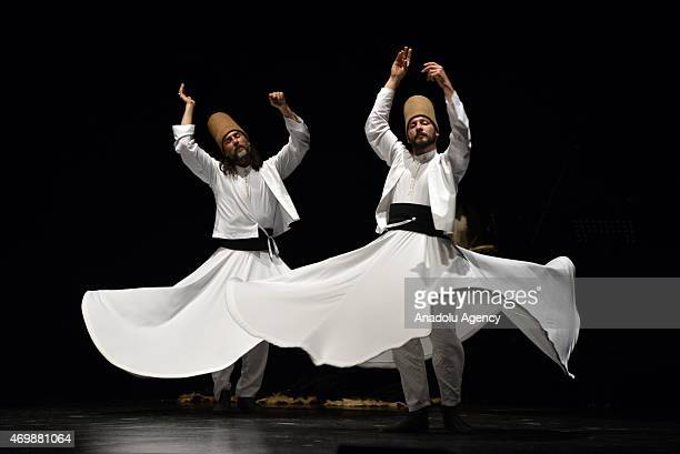 Mevlevi Sema' ceremony is performed by 'Galata Mevlevi Ensemble' at Brancaccio Theatre in Rome, Italy on April 15, 2015. Mevlevi whirling is a form...