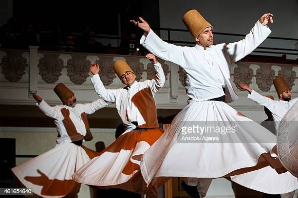 'Mevlevi Sema' ceremony is performed by Konya Turkish Sufi Music Ensemble aka 'Whirling Dervishes' at Cadogan Hall in London England on January 16...