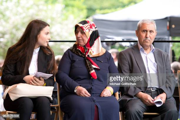 Mevlude Genc and Durmus Genc, parents of the victims, during the commemoration of the arson attack on the house of the Turkish Genc family 25 years...