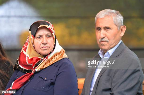 Mevlude Genc and Durmus Genc parents of two victims during the commemoration of the arson attack on the house of the Turkish Genc family 25 years ago...