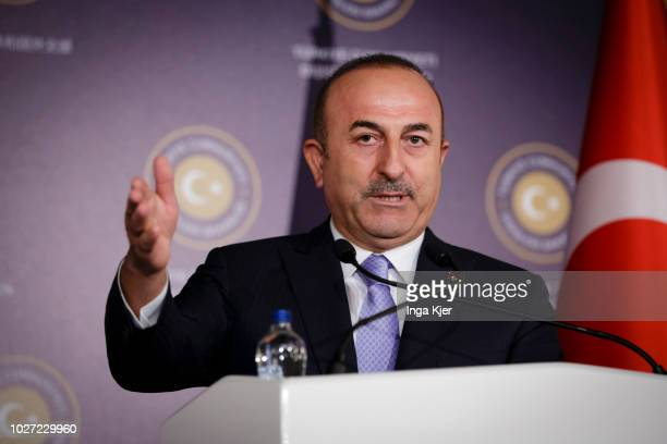 Mevluet Cavusoglu Foreign Minister of Turkey gives a press conference on September 05 2018 in Ankara Turkey Maas is on a two day trip in Turkey to...