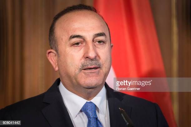 Mevluet Cavusoglu Foreign Minister of Turkey speaks to the media with German Foreign Minister Sigmar Gabriel on March 06 2018 in Berlin Germany...