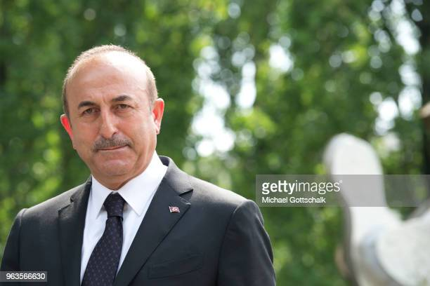Mevlut Cavusoglu Foreign Minister of Turkey visits the memorial site of the arson attack on the house of the Turkish Genc family 25 years ago on May...